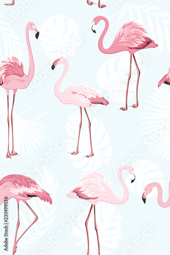 Foto op Plexiglas Flamingo vogel Pink flamingo beautiful exotic birds. Jungle palm tree monstera leaves. Tropical seamless vector pattern. Light blue background. White leaves outline. Trendy fashion illustration.