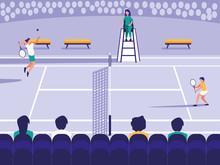 Tennis Sport Court Scene