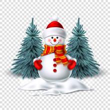 Vector Cute Realistic Snowman ...