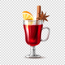 Vector Realistic Mulled Wine Glass Orange Anise