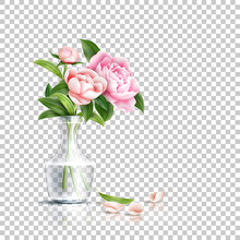 Vector Realistic Pink Rose Flower Leaves Bouquet