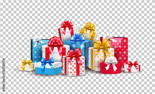 Fototapeta Vector christmas new year holiday present box gift obraz