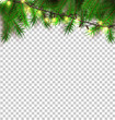 Vector christmas light realistic garland spruce a