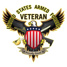 United States Armed Forces Military Veteran Proudly Served Bald Eagle Majestic Emblem Isolated Vector Illustration