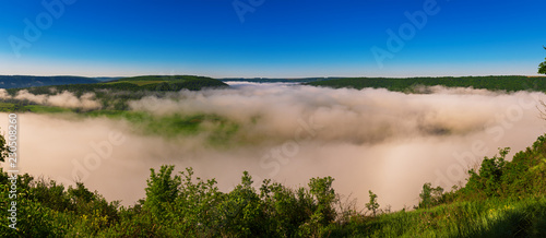 Dnister river landscape in Ternopil region of western Ukraine. Idillyc view from above in the morning. Panorama