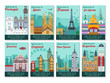 Set of different cities for travel. Landscape template flyer. Landmarks banner in vector. Travel destinations cards. Portugal, Spain, France, Sri Lanka,, Slovenia, England, New York, Argentina