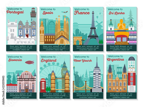 Set of different cities for travel. Landscape template flyer. Landmarks banner in vector. Travel destinations cards. Portugal, Spain, France, Sri Lanka,, Slovenia, England, New York, Argentina