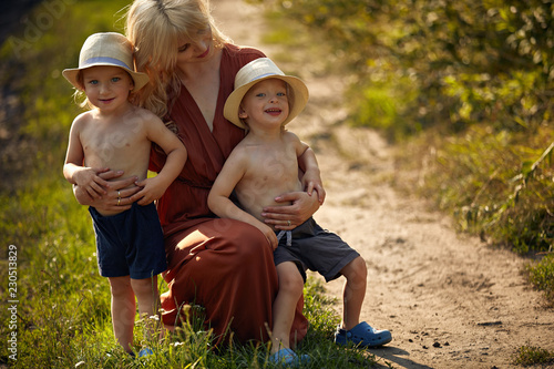 Acrylic Prints Artist KB Pretty mother hugging her beloved sons