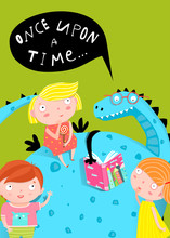 Fairy Tale Dragon Reading A Book To Kids Cartoon.