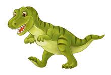 Cartoon Scene With Happy And Funny Dinosaur Tyrannosaurus - On White Background - Illustration For Children