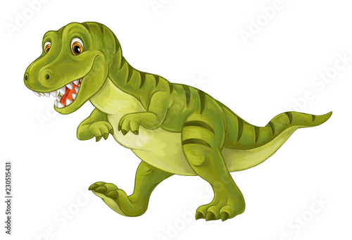 Obraz na plátně  cartoon scene with happy and funny dinosaur tyrannosaurus - on white background