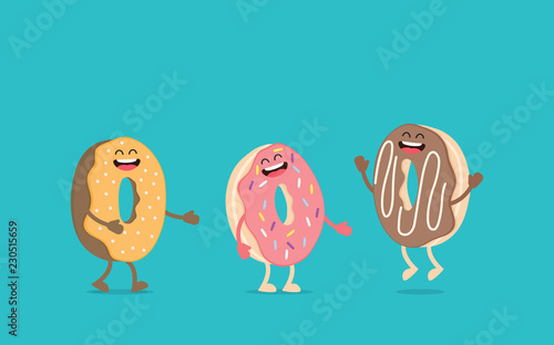 Fototapeta Funny donut character with eyes and legs