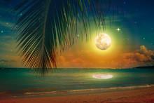 Full Moon With Stars On Caribbean Beach.