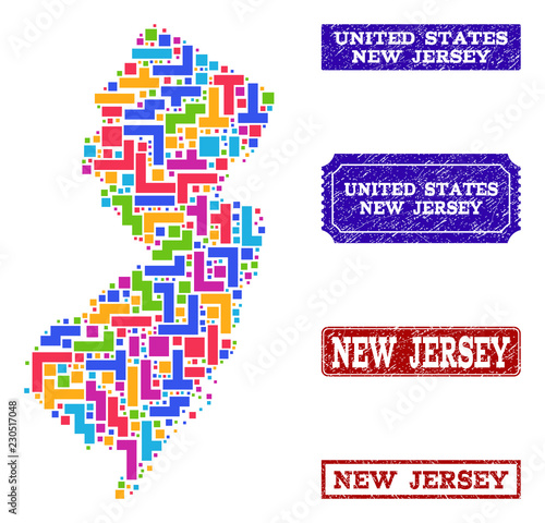 Mosaic tetris style map of New Jersey State and corroded