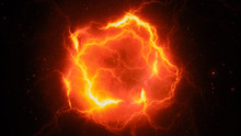 Fiery Glowing High Energy Lightning, Computer Generated Abstract Background