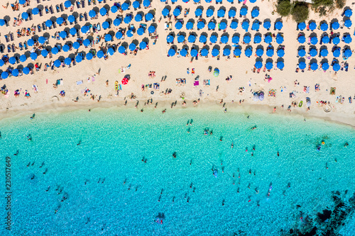 Aerial photo of a sandy beach in Ayia Napa