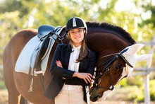 Girl Equestrian Rider Stands N...