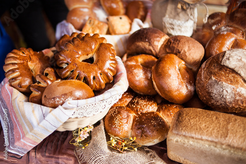 various bakery products in stock. Buns, bread, bagels.