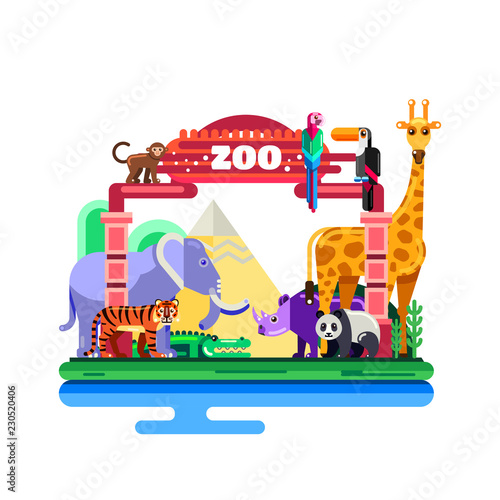Zoo entrance, vector flat illustration isolated on white background. Colorful wild animals around gates.