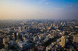 View of Bangkok from above, sunset background
