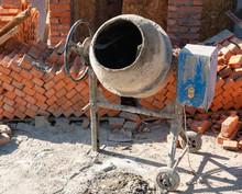 Close Up Of Concrete Mixer At Construction Site
