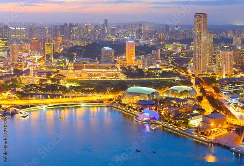 Poster Aziatische Plekken Singapore cityscape aerial view