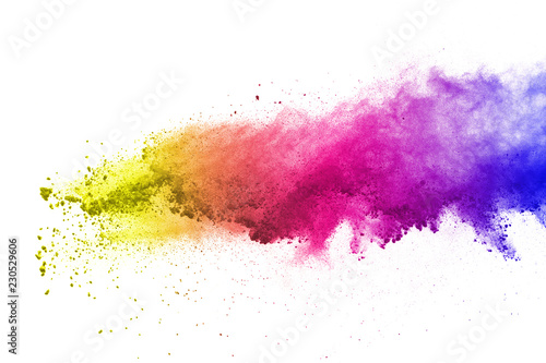 Fototapeta Freeze motion of colored powder explosions isolated on white background. obraz