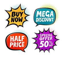 Sale, Label Set. Business, Shopping Symbol In Pop Art Retro Comic Style. Vector Illustration