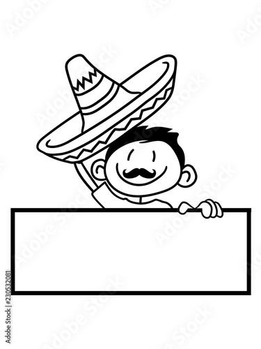 Text Schild Name Mexikanisch Gren Sombrero Mexikaner Sdamerika