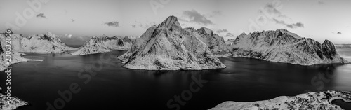 Aerial drone photo - Beautiful sunrise over the mountains of the Lofoten Islands. Reine, Norway