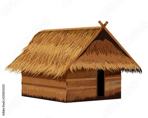 straw hut vector design Fototapet