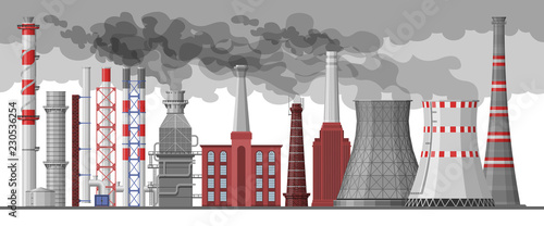 Carta da parati Industry factory vector industrial chimney pollution with smoke in environment i