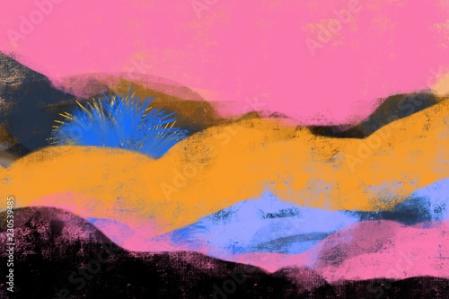 Abstract Landscape with bold colors, forms, tree, mountains, in modern colors