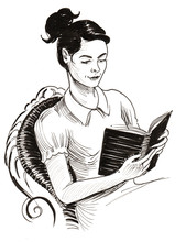 Pretty Lady Reading A Book. Re...
