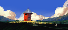 Red House On Hill With Meadow ...