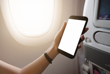 Touching And Slide Mobile Phone Screen On Airplane Or Aircraft,blank Mobile Phone Screen Mock Up,selective Focus