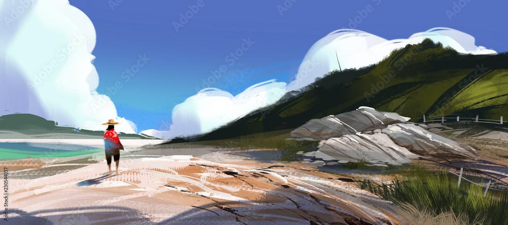 Fototapeta man walking on the beach against blue sky and blue sea, digital illustration art painting design style. (wide screen)