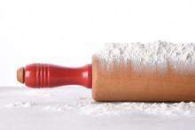 Closeup Of A Rolling Pin With Flour