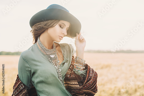 Fotobehang Gypsy romantic young lady