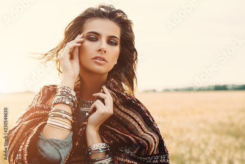 Fotobehang Gypsy autumn beauty and fashion