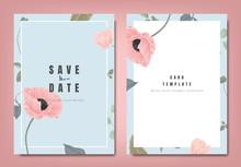 Botanical Wedding Invitation Card Template Design, Pink Poppy Flowers And Leaves On Blue Background, Minimalist Vintage Style