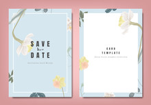 Botanical Wedding Invitation Card Template Design, Yellow And White Daffodil Flowers And Leaves On Blue Background, Minimalist Vintage Style