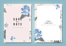 Botanical Wedding Invitation Card Template Design, Blue Hydrangea Flowers And Leaves On Light Pink Background, Minimalist Vintage Style