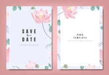 Botanical Wedding Invitation Card Template Design, Pink Lotus Flowers And Leaves On Light Blue Background, Minimalist Vintage Style