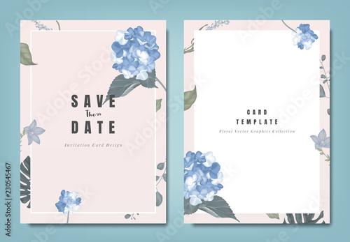 Obraz na plátně Botanical wedding invitation card template design, blue hydrangea flowers and le