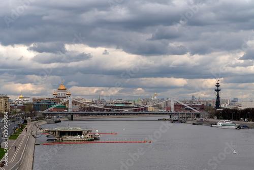Foto op Plexiglas Панорама Москва реки и Крымского моста.