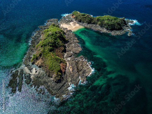 Fotografie, Obraz  Aerial drone photo of a deserted island in the Pacific Ocean, off the coast of C