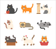 A Set Of Cats Of Various Color...