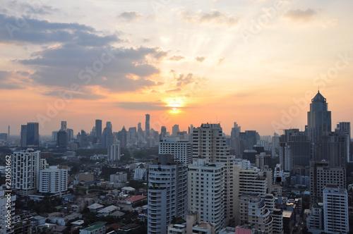 Photo  The sunset of Bangkok, Thailand cityscape skyline