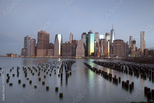 Foto op Canvas New York TAXI Brooklyn Pier View at Morning Timer